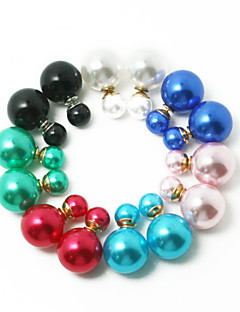 Beadia 1Pc Fashion Stud Earrings 14mm Round Pearl Color Plastic Double Side Stud Earring For Women (7 Colors)