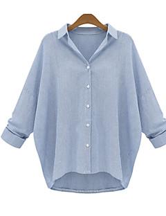 De las mujeres Simple Casual/Diario Otoño Camiseta,Cuello Camisero Un Color Manga Larga Algodón Azul / Negro Opaco