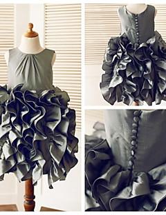 A-Linie Knie-Länge Blumenmädchenkleid - Taft Ohne Ärmel Rundhalsausschnitt mit