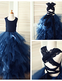 Princess Floor-length Flower Girl Dress - Lace/Tulle Sleeveless