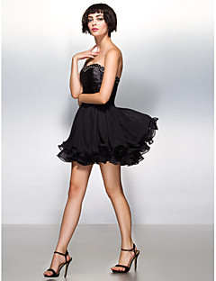 Cocktail Party Dress - Black A-line Sweetheart Short/Mini Chiffon/Stretch Satin