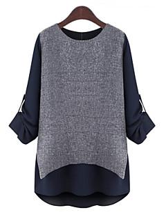Women's Plus Size Round Neck Long Sleeve Patchwork / Color False Two-Piece Blouse