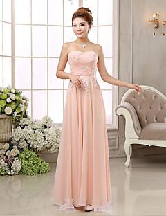 Fiesta formal Vestido - Rosa Corte Recto Hasta el Suelo - Strapless Gasa