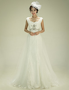 A-line Wedding Dress - Ivory Court Train Straps Tulle