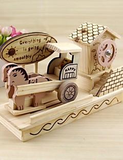 bois boîte à musique iocomotive modèle de camion de boîte à musique décoration bricolage créatif