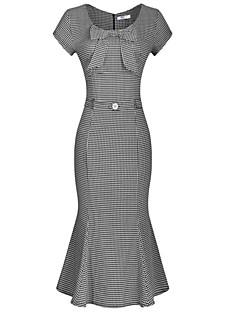 U-hals - Katoen / Polyester - Strik - Tot de knie - Vrouwen - Jurk - Korte mouw