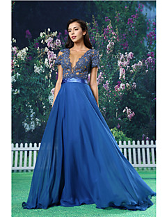 TS Couture® Formal Evening Dress A-line Jewel Floor-length Chiffon / Lace / Satin with
