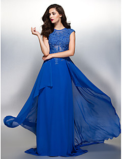 Formal Evening Dress Sheath / Column Jewel Sweep / Brush Train Chiffon with Appliques