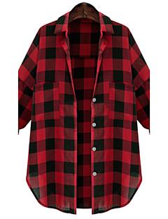 משובץ צווארון חולצה פשוטה יום יומי\קז'ואל חולצה נשים,סתיו שרוול ארוך אדום / שחור בינוני (מדיום) כותנה
