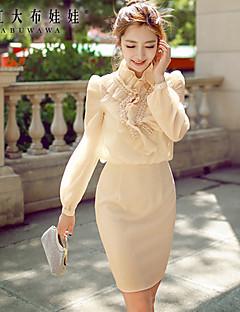 婦人向け スタンド ビーズ/ボタン/ジッパー/ラッフル ドレス , スパンデックス/ポリエステル 膝上 長袖
