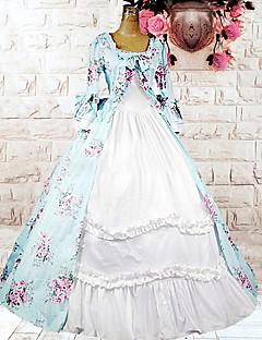 /שמלותחתיכה אחת לוליטה מתוקה לוליטה Cosplay שמלות לוליטה Taivaan sininen דפוס / פרחוני שרוול ארוך אורך בינוני שמלה ל נשים כותנה