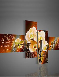 handgeschilderde moderne decoratieve olieverf op doek kunst aan de muur bloem foto van de woonkamer 4 stuks / set zonder frame