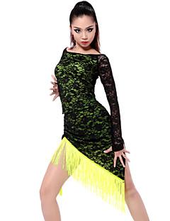 ריקוד לטיני תלבושות בגדי ריקוד נשים ביצועים אימון Chinlon ספנדקס פוליאסטר תחרה גדיל (ים) 2 חלקים שרוול ארוך חצאית עליוןS:45 M:46 L:47
