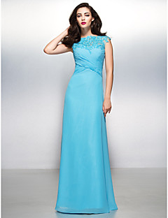TS Couture® Formal Evening Dress Sheath / Column Bateau Floor-length Chiffon / Lace with Appliques / Lace / Criss Cross
