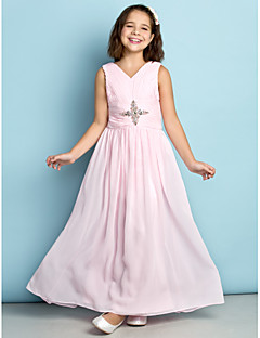 Lanting Bride Ankle-length Chiffon Junior Bridesmaid Dress - Mini Me A-line V-neck with Crystal Detailing / Criss Cross