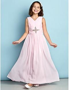 Vestido de Dama de Honor Junior - Rosa Corte A Escote en V Hasta el Tobillo Gasa