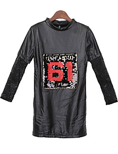 Women's Patchwork Black Tops & Blouses , Casual Round Long Sleeve