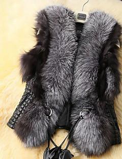 Women Faux Fur Top , Integrated simulation fur vest dress coat plus-size women waistcoat short fur