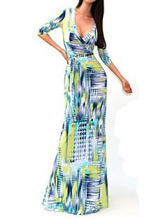 Sexy Package Hip Maxi Dress Fashion V-neck Long Sleeve Printed Long Dress  Women Party Dresses vestido