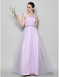 Lanting Floor-length Tulle Bridesmaid Dress - Lavender A-line One Shoulder