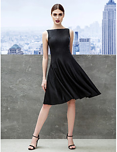 Cocktail Party Dress - Black A-line Bateau Knee-length Jersey