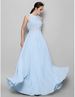 Lanting Bride® Floor-length Chiffon Bridesmaid Dress - A-line Jewel with Beading / Sequins