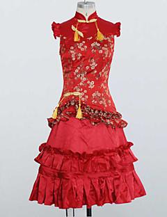 dolce increspature cascata rosso senza maniche in raso lolita