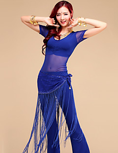 Belly Dance Outfits Women's Performance / Training Tulle / Milk Fiber Tassel(s) 3 Pieces(Top&Pant&Hip Scarf)