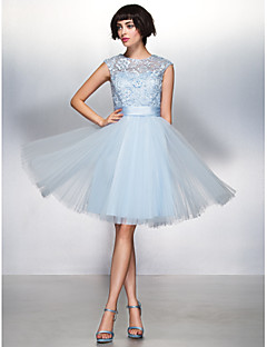 Cocktail Party Dress - Sky Blue A-line Jewel Knee-length Lace / Tulle