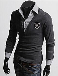 Men's Shirt Collar Tops & Blouses , Cotton Blend Long Sleeve Casual Fashion Fall sss