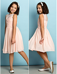 Knee-length Chiffon Junior Bridesmaid Dress - Pearl Pink A-line Jewel