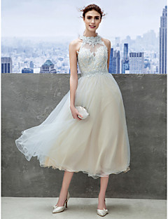 TS Couture Cocktail Party Prom Company Party Dress - Open Back A-line High Neck Tea-length Tulle with Appliques
