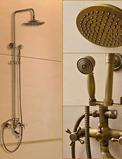 伝統風 シャワーシステム レインシャワー / ハンドシャワーは含まれている with  セラミックバルブ 二つのハンドル三穴 for  アンティーク真鍮 , シャワー水栓