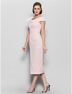 Vestido Para Mãe dos Noivos - Rosa Pérola Tubo/Coluna Comprimento Médio Manga Curta Chiffon