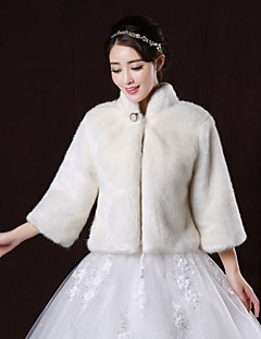 Wedding  Wraps / Fur Wraps / Fur Coats Coats/Jackets Long Sleeve Faux Fur White Wedding / Party/Evening High Neck Button Clasp