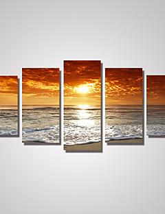 Op gespannen doek Landschap Fantasie Klassiek,Vijf panelen Horizontaal Print Art Muurdecoratie For Huisdecoratie