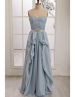 Floor-length Chiffon Bridesmaid Dress A-line Sweetheart with Draping / Sash / Ribbon