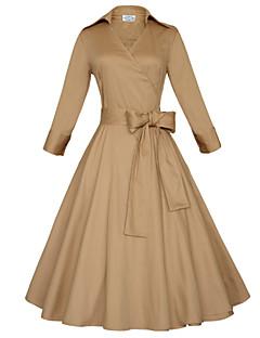Dámské Velké velikosti / Vintage / Na večírek / Do práce / Běžné nošení Velké velikosti Šaty Jednobarevné Hluboké V Midi Bavlna / Elastan