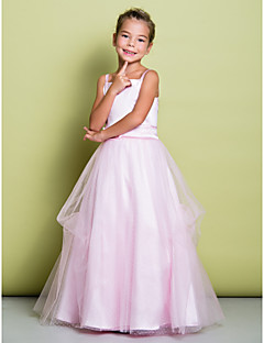 Lanting Bride A-line Floor-length Flower Girl Dress - Satin / Tulle Sleeveless Straps with