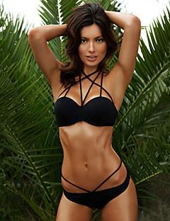 De las mujeres Bikini - Color Único Push-Up - Halter - Poliéster