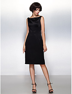 TS Couture Cocktail Party Dress - Black Sheath/Column Bateau Knee-length Satin