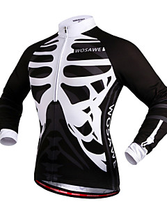 WOSAWE Cycling Jersey Unisex Long Sleeve Bike Windproof Reflective Strips Back Pocket Jersey Tops 100% Polyester Skulls Spring Fall/Autumn