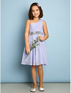 Lanting Bride® Knee-length Chiffon Junior Bridesmaid Dress - Mini Me A-line One Shoulder with Side Draping / Sequins
