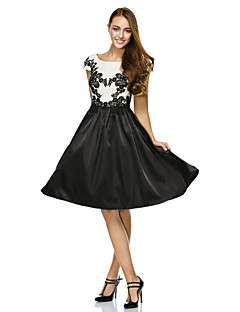 TS Couture Cocktail Party Dress - Multi-color A-line Scoop Knee-length Satin