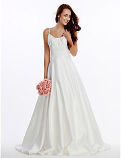 Lanting Bride A-line Wedding Dress-Court Train Spaghetti Straps Satin