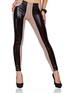 Bodycon / Grote maten - Katoen / Polyester / PU - Micro-elastisch - Skinny - Broek - Vrouwen