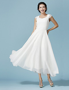 Ankle-length Chiffon / Lace Bridesmaid Dress - White A-line Scoop