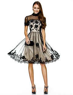 TS Couture Cocktail Party Prom Company Party Dress - Little Black Dress A-line High Neck Knee-length Tulle with Appliques Lace