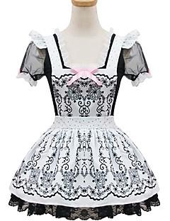 svart og hvit polyester maid drakt type7