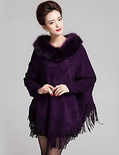 Lang Cloak / Capes Fritid/hverdag Vintage Dame,Ensfarget Blå / Rød / Sort / Gul / Lilla Rund hals Langermet Ull / Akryl Vinter Medium